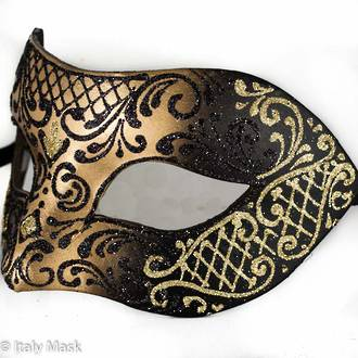 Masquerade Mask Decor Gold Black