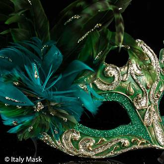 Feather Mask Colombina Vin Gold Green