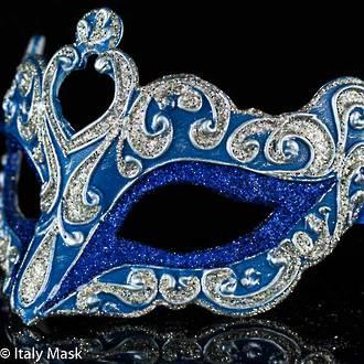 Venetian Masquerade Mask Colombina Vin Blue Silver