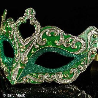 Venetian Masquerade Mask Colombina Vin Green Gold
