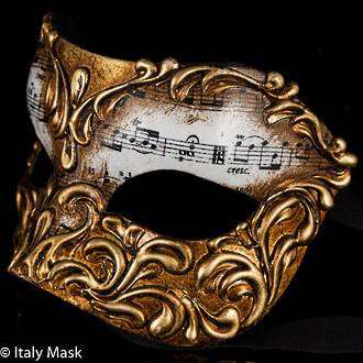 Masquerade Mask Stucco Musica Gold