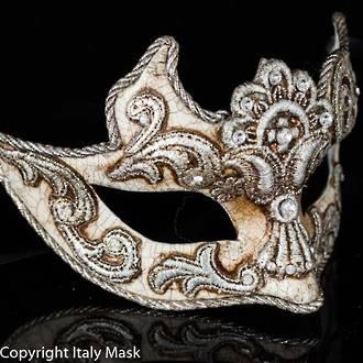 Venetian Masquerade Mask Colombina Macrame Silver Cignetta