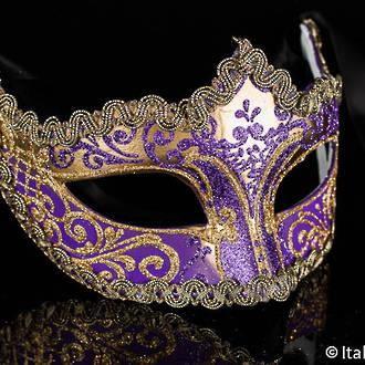 Venetian Masquerade Mask Colombina Star purple-gold