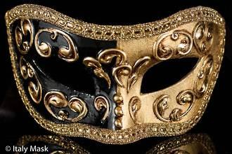 Venetian Masquerade Mask Colombina Mezza Gold-Black