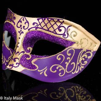 Masquerade Mask Decor Gold-Purple
