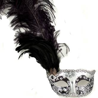Venetian Masquerade Feather Mask Colombina Ciuffo Can Can Silver Black 2