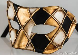 Venetian Masquerade Mask Colombina Rombi Gold/Black
