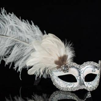 Venetian Masquerade Mask Colombina Ciuffo Can Can Silver White 2