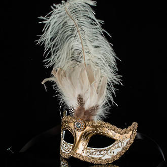 Venetian Masquerade Feather Mask Colombina Ciuffo Sisi Gold White 2