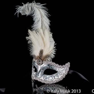 Masquerade Mask - Sisi Silver White (Feather)