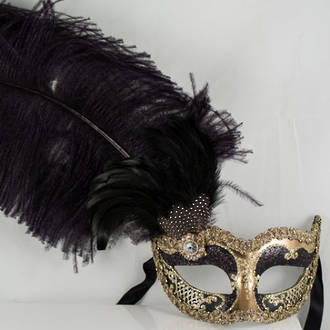 Venetian Masquerade Mask Colombina Ciuffo Can Can Gold Black