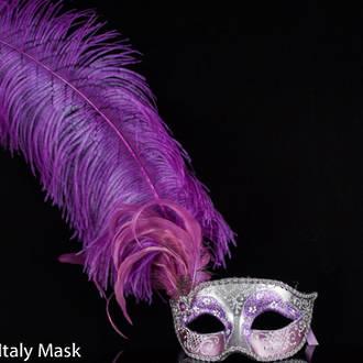 Venetian Feather Masquerade Mask Colombina Ciuffo Can Can Silver Purple