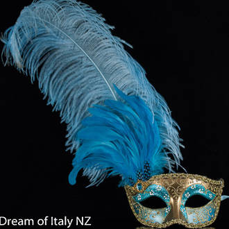 Venetian Masquerade Feather Mask Colombina Ciuffo Can Can Gold Aqua