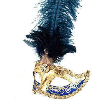 Venetian Masquerade Feather Mask Colombina Ciuffo Sisi Gold Blue 2