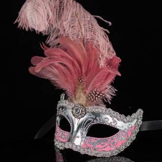Venetian Masquerade Feather Mask Colombina Ciuffo Sisi Silver Pink 2