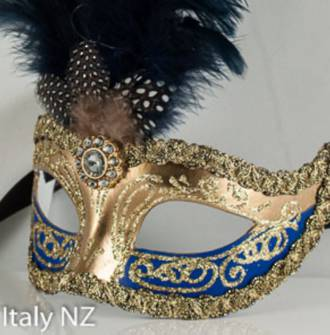Venetian Masquerade Feather Mask Colombina Ciuffo Sisi Gold Blue