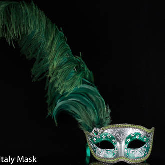 Masquerade Mask - Can Can Silver Green (Feather) (1)