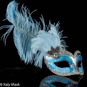 Feather Masquerade Mask Ciuffo Can Can Silver Aqua