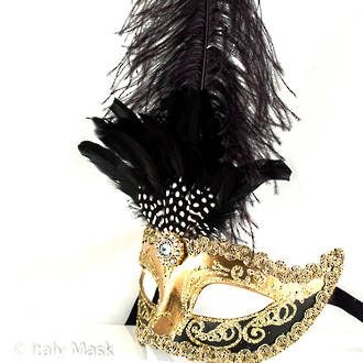Venetian Masquerade Feather Mask Colombina Ciuffo Sisi Gold Black