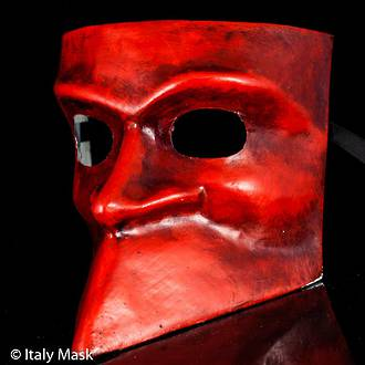 Venetian Masquerade Mask Bauta Red