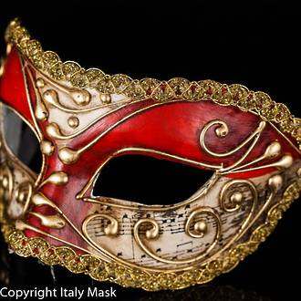 Venetian Masquerade Mask Colombina Vivian Music Red