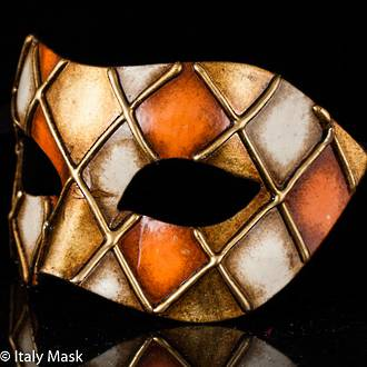Venetian Masquerade Mask Colombina Rombi Gold-Orange