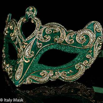 Masquerade Mask Colombina Vin Gold Green