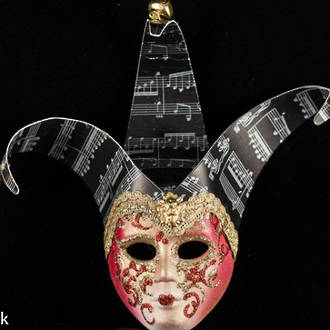 Venetian Masquerade Mini Mask Jollino Red Musica Black