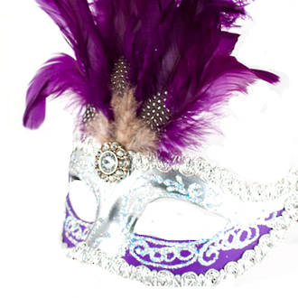 Venetian Feather Masquerade Mask Colombina Ciuffo Sisi Silver Purple 3