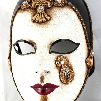 Venetian Carnival Masquerade Full Face Mask- Volto Pierrot Macrame