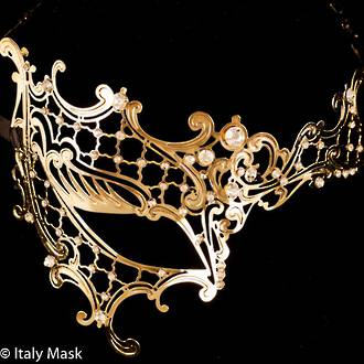 Metal Filigree Mask Occhialino - Gold