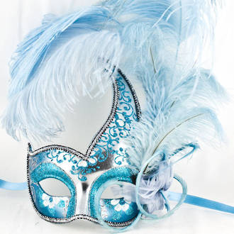 Colombina Ciuffo Cigno Silver/Aqua Feather Venetian Masquerade Mask
