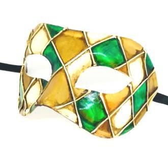 Venetian Masquerade Mask Colombina Rombi Gold - Green