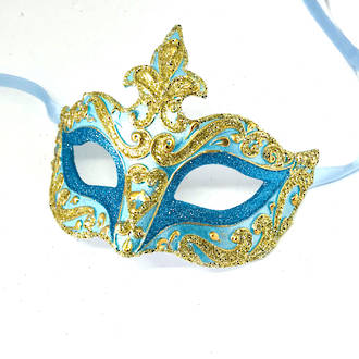 Venetian Masquerade Mask Colombina Punta Star Gold Aqua Vin