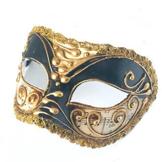 Venetian Masquerade Mask Colombina Vivian Music Black Gold