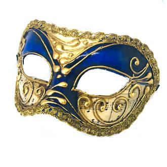Venetian Masquerade Mask Colombina Vivian Music Blue Gold