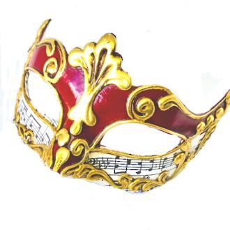 Venetian Masquerade Mask Colombina Madam Music Red 2