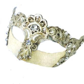 Venetian Masquerade Mask Colombina Madam Macrame Silver