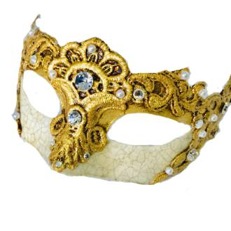 Venetian Masquerade Mask Colombina Macrame Madam Gold