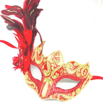 Feather Mask Colombina Vin Red Gold