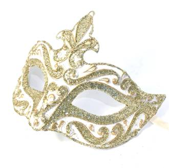 Venetian Masquerade Mask Colombina Punta Star Gold White Vin