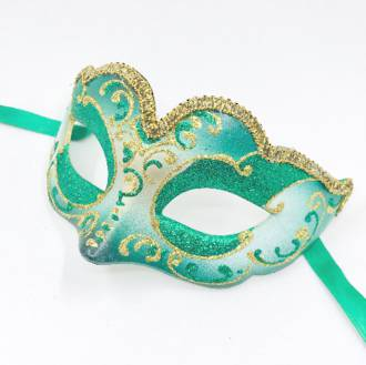 Venetian Masquerade Mask Colombina Madam Gold Green (suits smaller face)