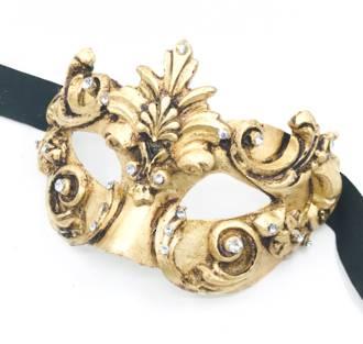 Venetian Masquerade Mask Colombina Baroque Gold