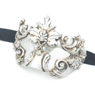 Venetian Masquerade Mask Colombina Baroque silver