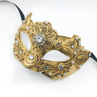 Venetian Masquerade Mask Colombina Macrame Gold