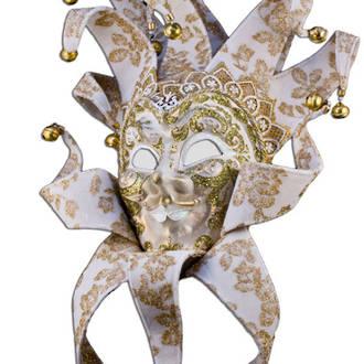Venetian Masquerade Mask Joker Reale Vin White Gold