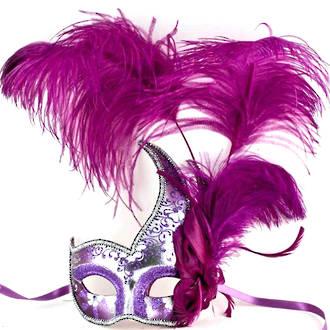 Colombina Ciuffo Cigno Silver/Purple Venetian Masquerade Mask