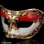 Venetian Masquerade Mask Colombina Stucco Red