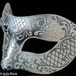 Venetian Mask Colombina Decor Silver White