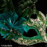 Feather Mask Colombina Vin Gold Green (1)
